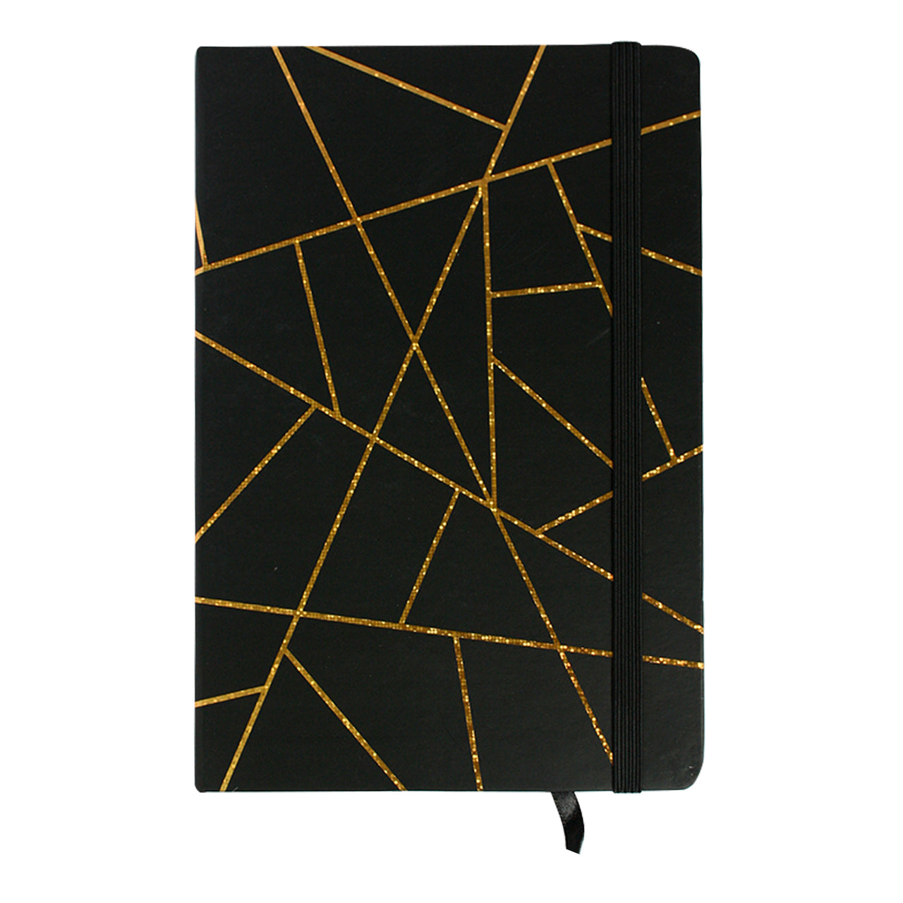 A5 Geometric Marble Notebook - Black / Gold