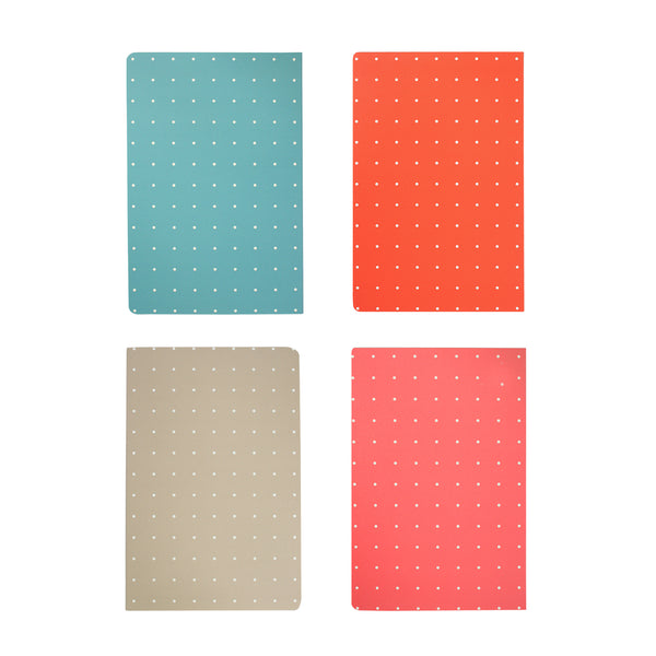 A5 Dots Softcover Notebook - Set of 4