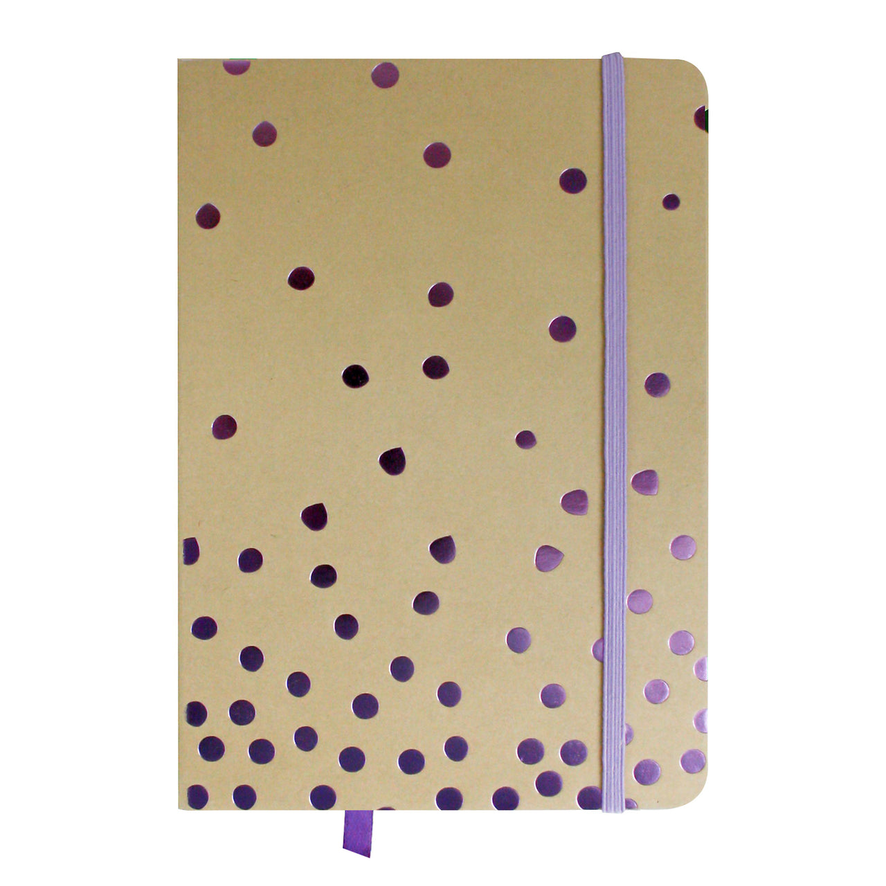 A5 Brown Purple Polka Notebook
