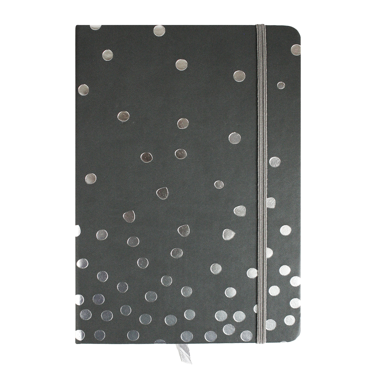 A5 Grey Silver Polka Dot Notebook - EMARTBUY