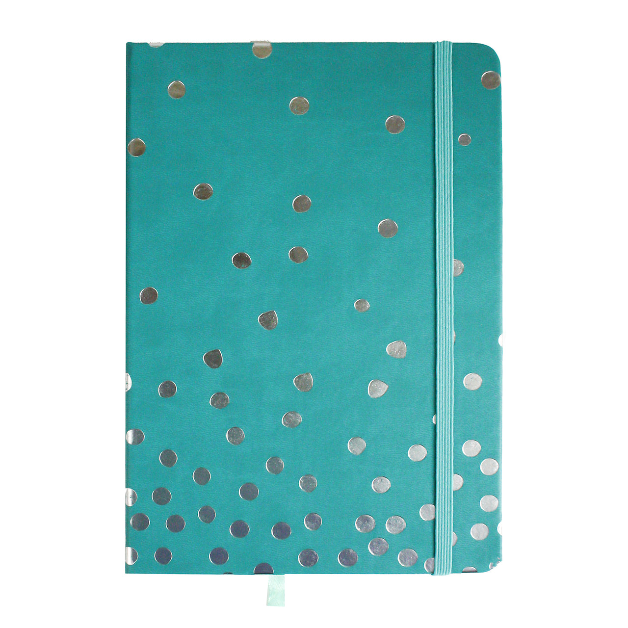 A5 Turquoise Silver Polka Dot Notebook - EMARTBUY