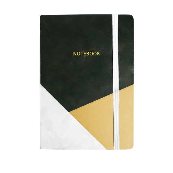 A5 Marble Effect Notebook - Black - EMARTBUY