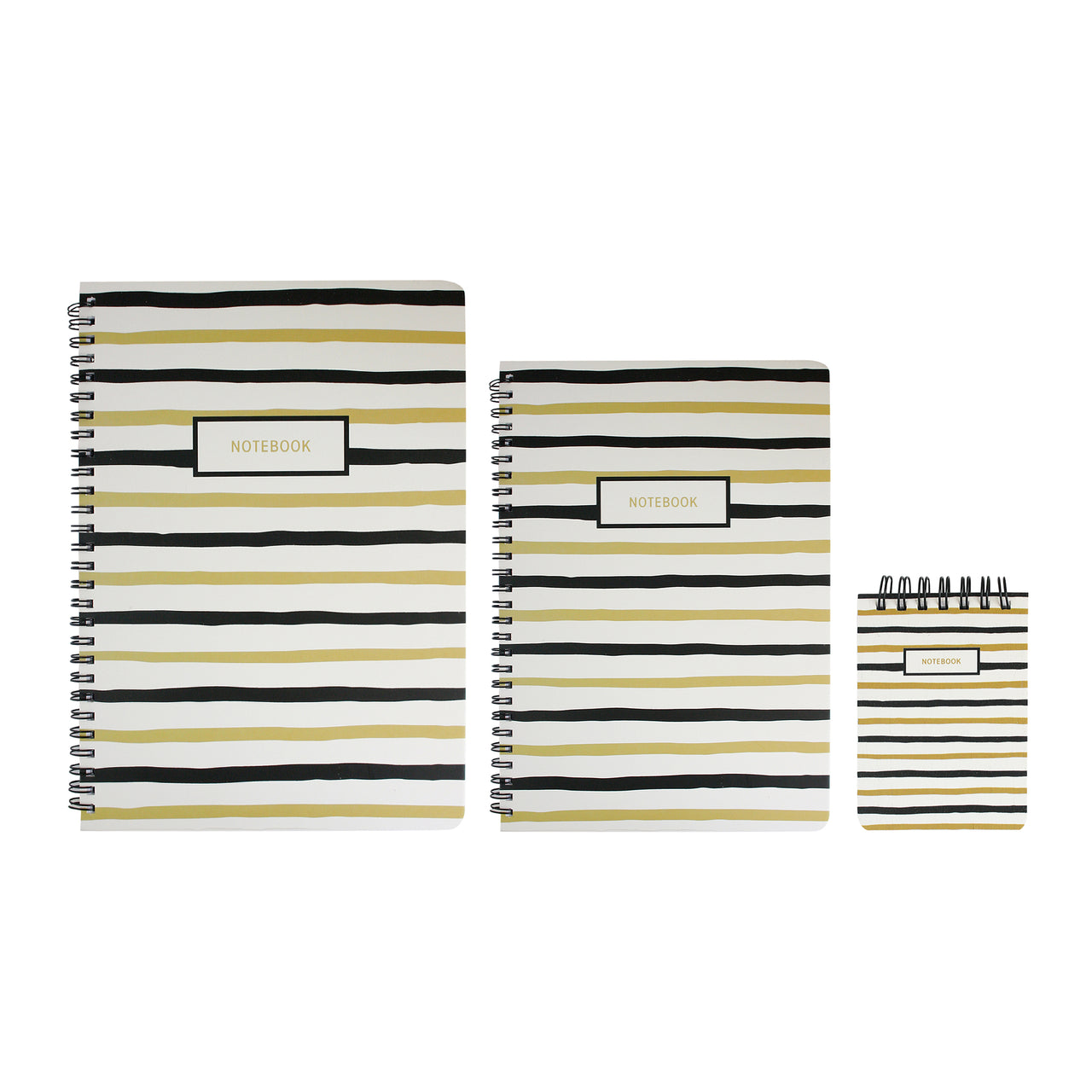 B5 , A5 , A7 Black & Gold Doodle Notebook - Set of 3