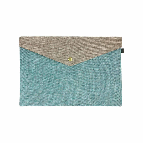 Two Tone Fabric A4 Documents Folder Pouch - Blue & Brown