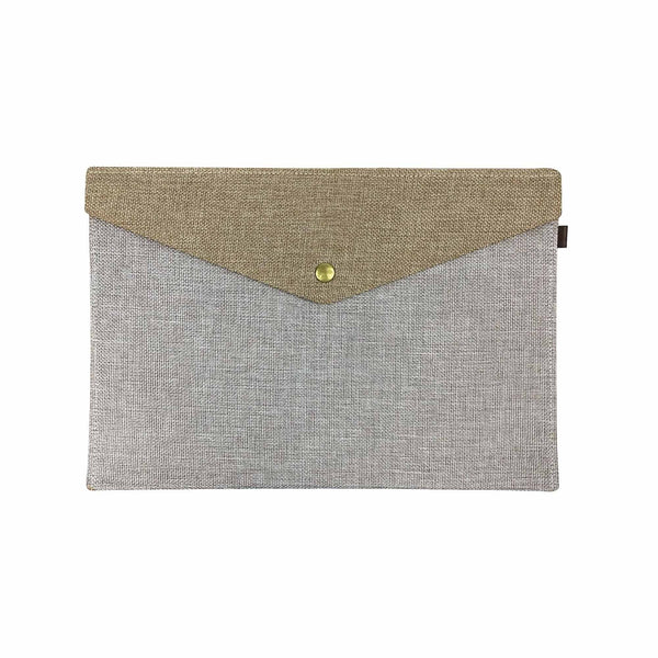 Two Tone Fabric A4 Documents Folder Pouch - Beige & Brown