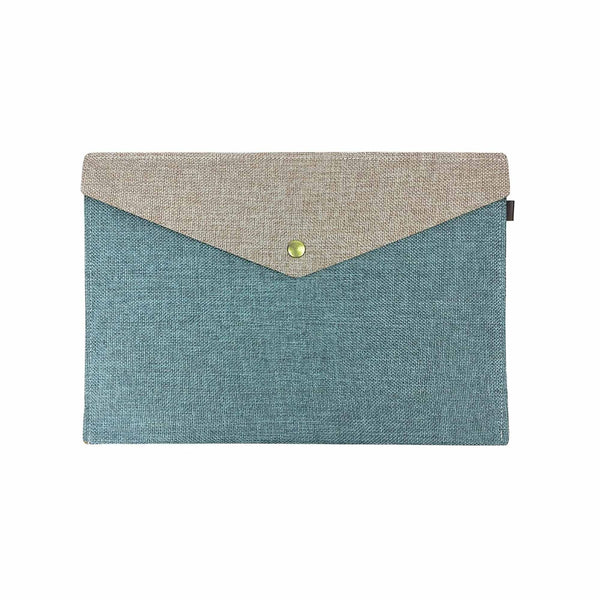 Two Tone Fabric A4 Documents Folder Pouch - Green & Brown