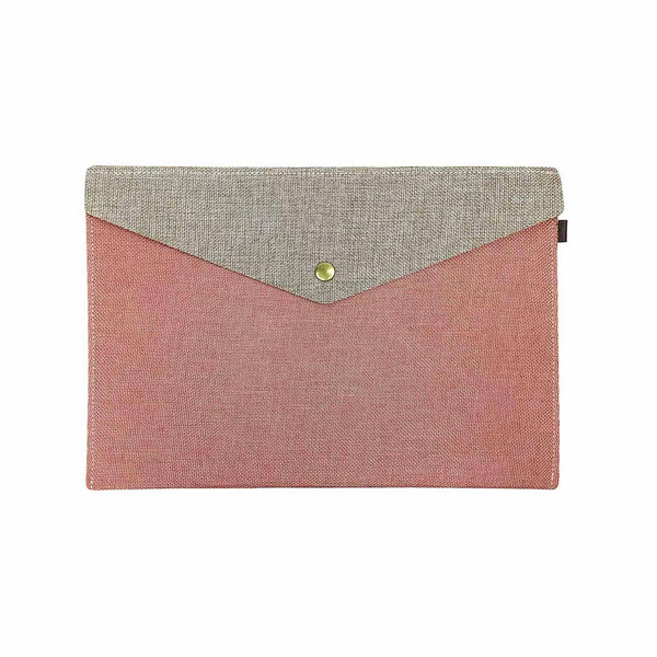 Two Tone Fabric A4 Documents Folder Pouch - Orange & Brown