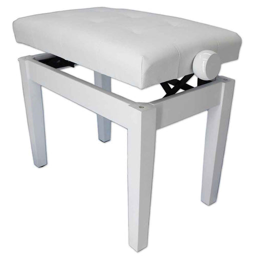 Steinhoven Piano Stool Sonata, Polished White Adjustable