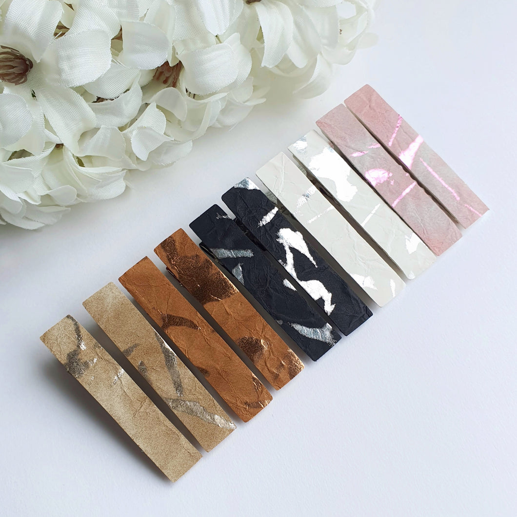 Textured Faux Quartz Clips - Matching Pairs