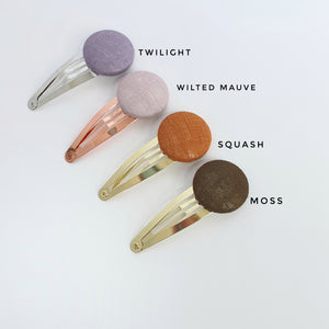 Linen Covered Button Snap Clips