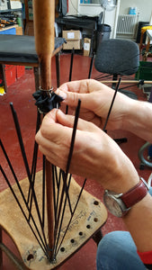 Hand sewing an inside Rosette onto a Gents Hickory Solid Stick Ince Umbrella