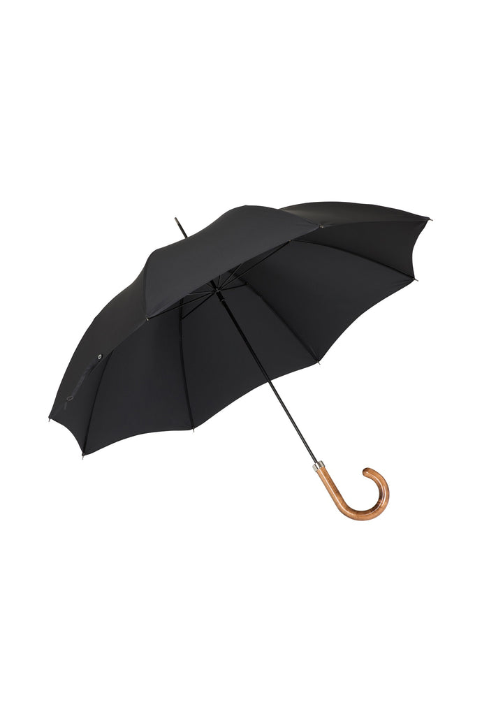Gents City Slim Ince Umbrellas with a scorched and polished Maple Italian handle - Black