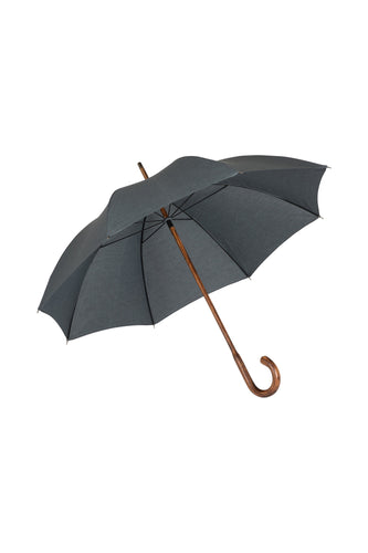 Gents Hickory Solid Stick Ince Umbrella - Charcoal Polycotton