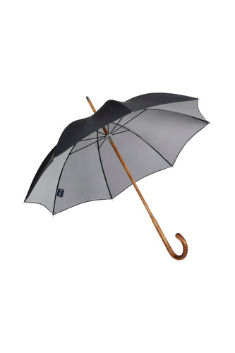 Gents Solid Hickory Stick Ince Umbrella - Double Face Black / Silver
