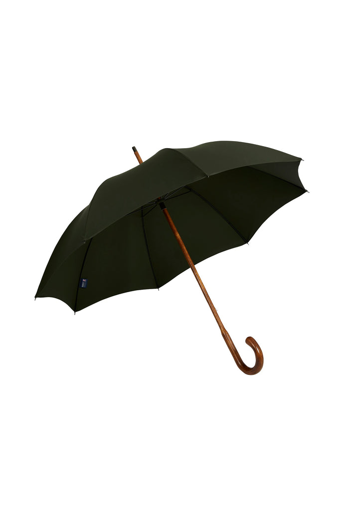 Gents Hickory Solid Stick Ince Umbrella - Dark Forest