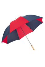 "James Ince Sturdy 30"" Golf Umbrella - Red & Navy Blue - light wood handle"