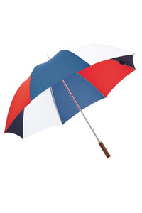 "James Ince Sturdy 30"" Golf Umbrella - Red, White & Blue - Straight Chestnut handle"