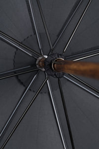 Gents Hickory Solid Stick Ince Umbrella - Charcoal Polycotton inside rosette close-up