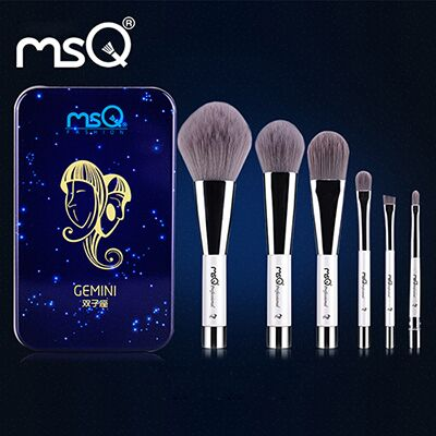 MSQ 6pcs Makeup Brushes Set Synthetic Hair Portable Make Up Brush Short Handle 12 Constellation Series With Magnetic Case