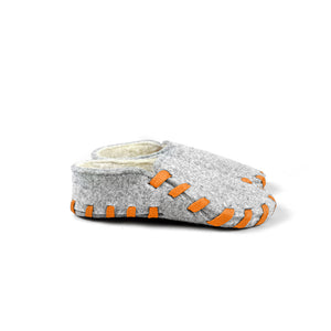 Chaussons Enfant Lasso Lainé lacets orange profil