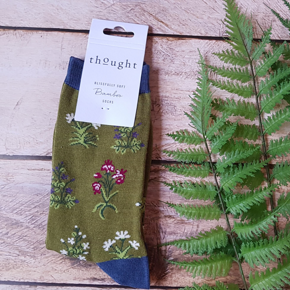 Chaussettes écologiques Thought Flowers Green