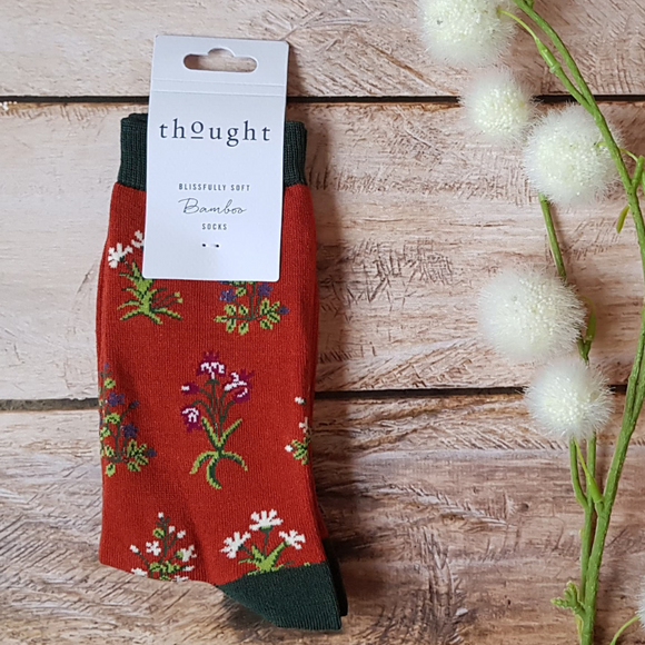 Chaussettes écologiques Thought Flowers Red