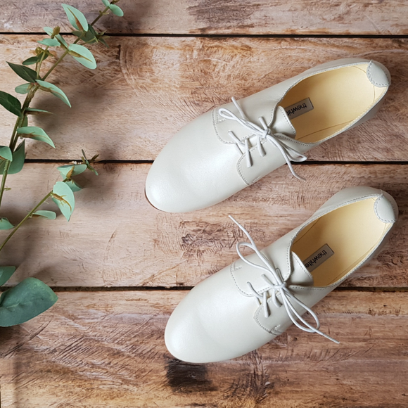 Chaussures zéro déchet Oxford The White Ribbon Pearl Ivory