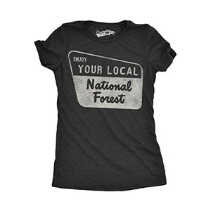 Womens Enjoy Your National Forest Funny Outdoor Vintage Camping Mountains T Shirt (Black) - XL