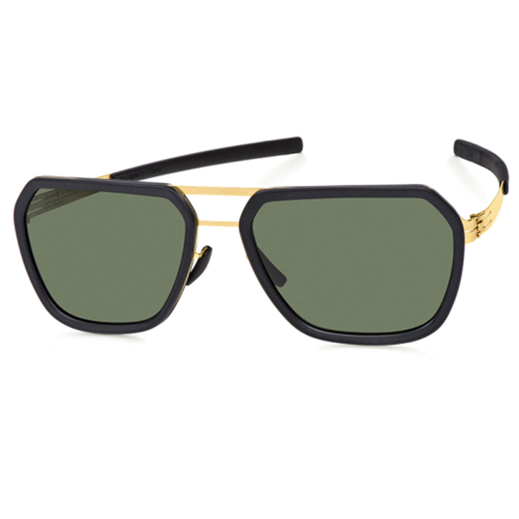 Ochelari de Soare-ic! Berlin Jorg R Black Matt-Gold-Green-OchelariDirect