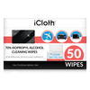 iCloth 70% Isopropyl Alcohol Cleaning Wipes – For Personal Devices & Surfaces – Screen Cleaner For All Kinds of Electronics – Streak-Free Formula & Lint-Free Cloth – Box of 50.