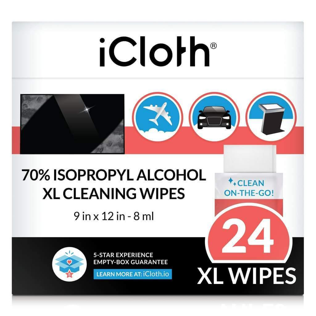 iCloth 70% Isopropyl Alcohol Cleaning Wipes – For Extra-Large Devices & Surfaces – Screen Cleaner For All Kinds of Large Electronics – Streak-Free Formula & Lint-Free Cloth – Box of 24.