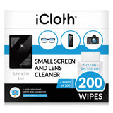 iCloth Lens and Screen Cleaner Pro-Grade Individually Wrapped Wet Wipes, Wipes for Cleaning Small Electronic Devices Like Smartphones and Tablets.