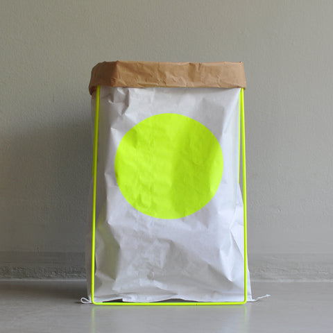 paper bag DOT fluo yellow