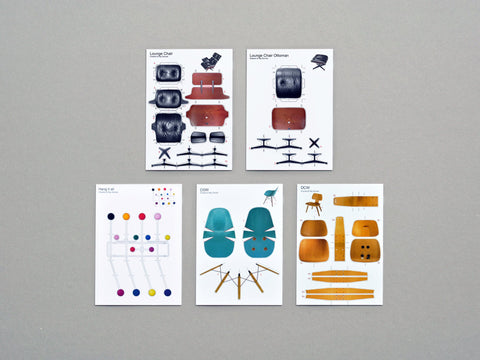 postcard set I / classical furniture by eames
