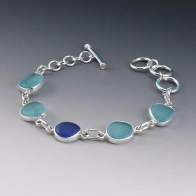0ca9ab918de13 Aqua & Cobalt Blue Sea Glass Bracelet | Rare Sea Glass | One of a Kind