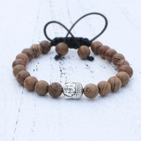 8mm Wood Beads with Buddha head Bracelet Handmade