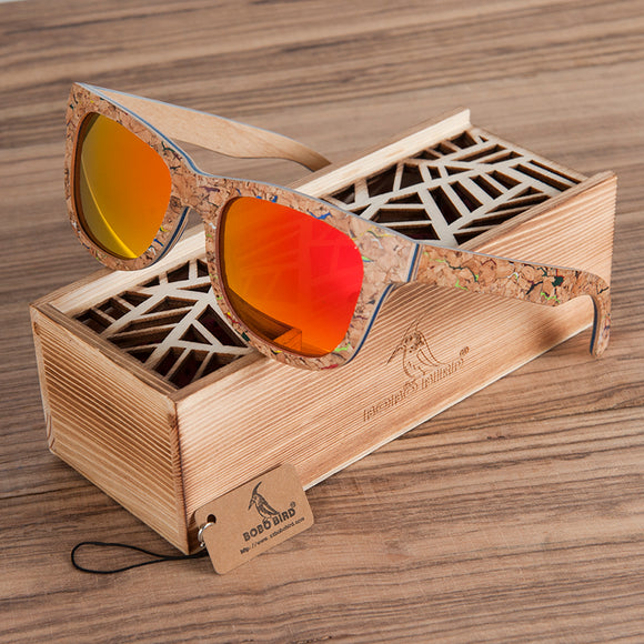 BOBO BIRD Cork Wooden Sunglasses Men Women