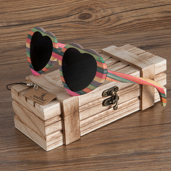BOBO BIRD Heart-shaped Wood Sunglasses For Women