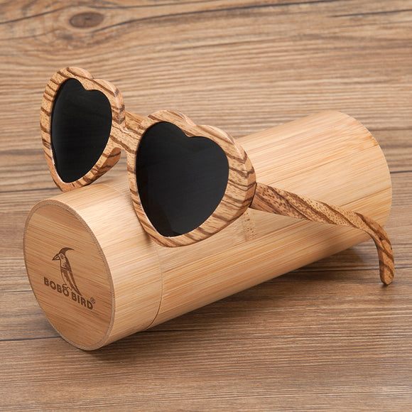 BOBO BIRD Zebra Wood Ladies Sunglasses