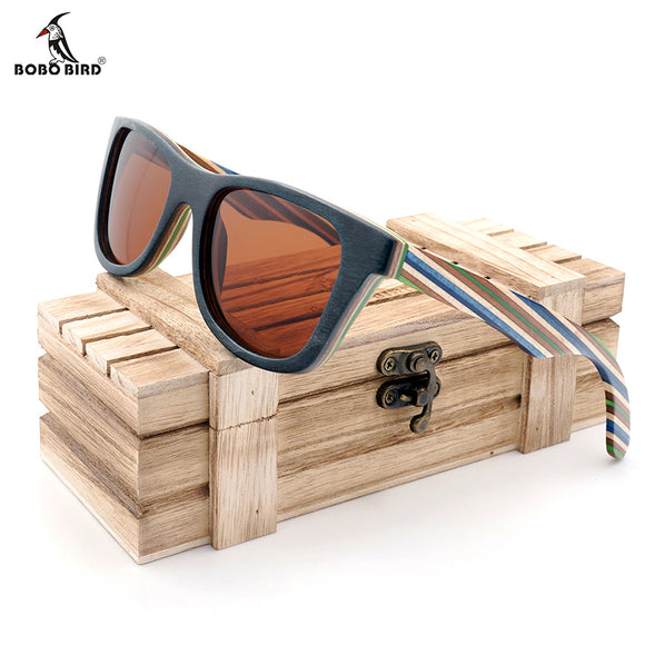 BOBO BIRD Stripe Sunglasses Women Men Handmade