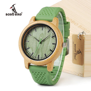 BOBO BIRD Men's Watch With Silicone Strap Green Wood Bamboo