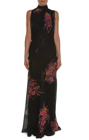 High-neck Sleeveless Floral-print Gown