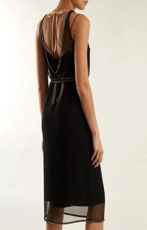 Crystal-embellished Sheer Silk Chiffon Dress