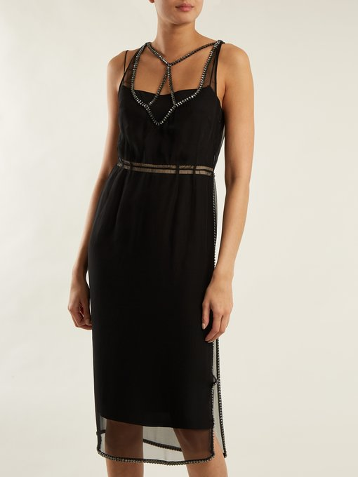 No. 21 black sheer silk chiffon dress front