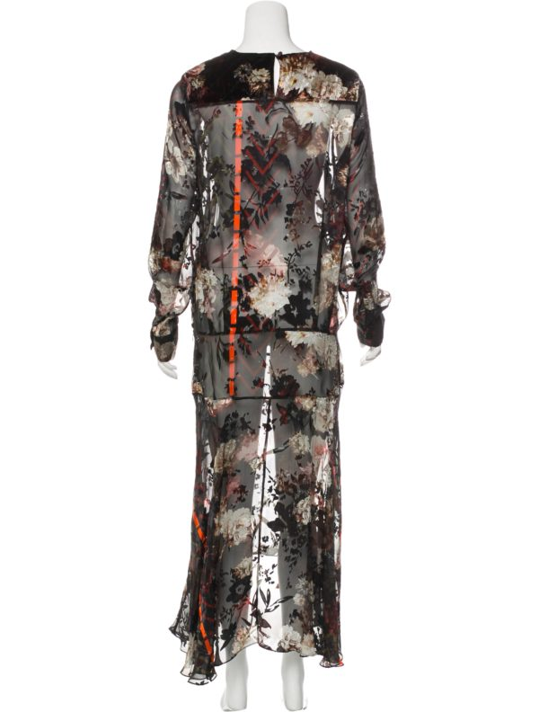 Preen by Thornton Bregazzi Velour Floral Midi Dress back