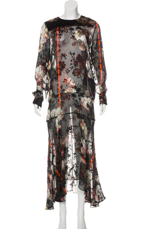 Preen by Thornton Bregazzi Velour Floral Midi Dress front