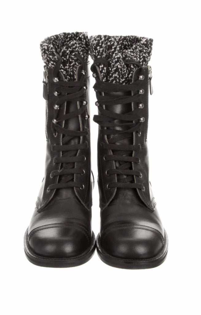 Chanel Black Leather Boots front