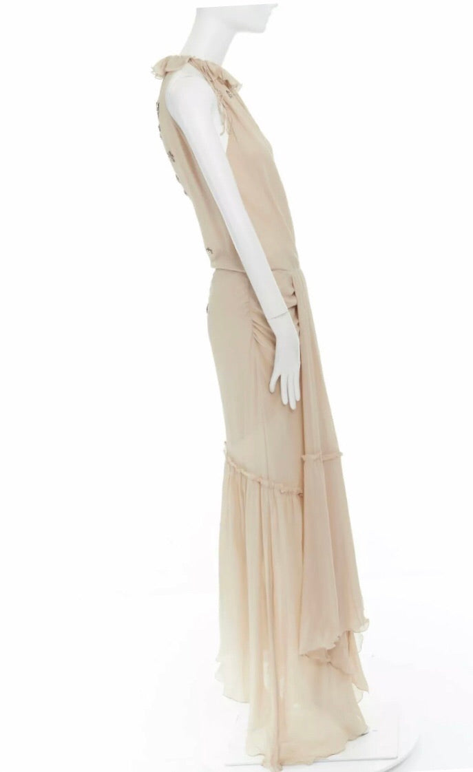 Emanuel Ungaro Paris Starry-Eye Silk Chiffon Gown side view