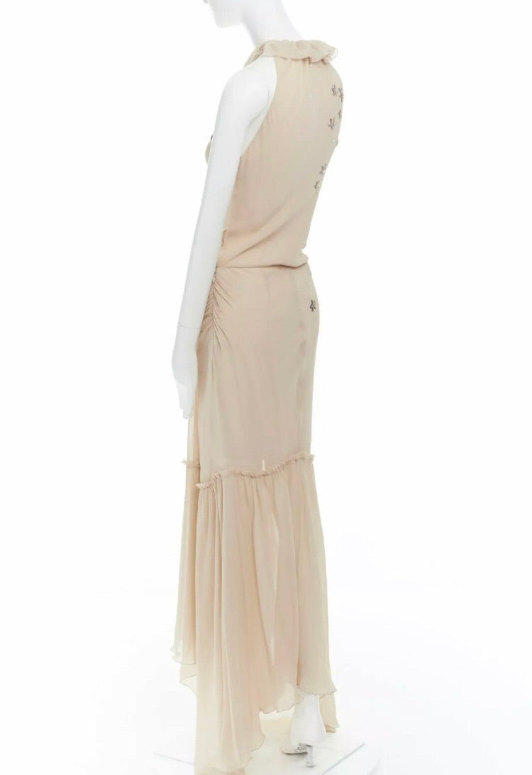 Emanuel Ungaro Paris Starry-Eye Silk Chiffon Gown side