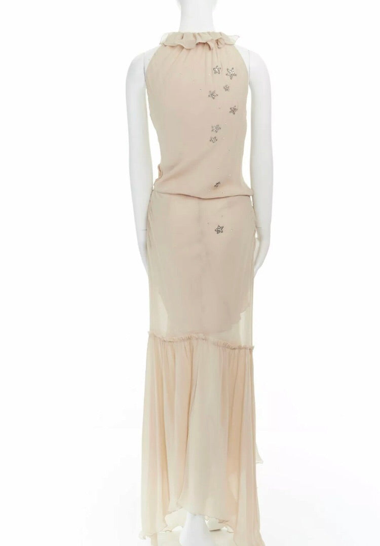 Emanuel Ungaro Paris Starry-Eye Silk Chiffon Gown back